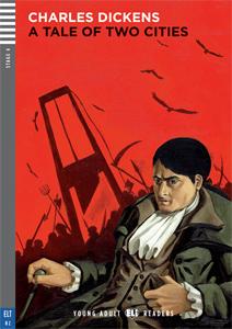 """Portada del libro en inglés """"A Tale of Two Cities"""" para el aprendizaje de este idioma."""