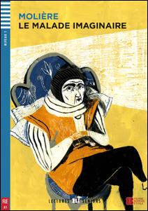 "portada del libro adapatado para adolescentes en idioma francés de la novela de Moliere ""Le Malade imaginaire"""