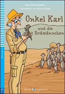 """portada del libro """"Onkel Karl und die Erdmännchen"""" para el aprendizaje y perfeccionamiento del alemán."""