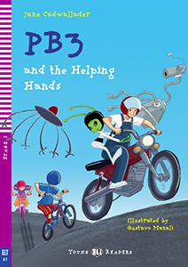 "portada del libro en inglés ""PB3 and the Helping Hands"""