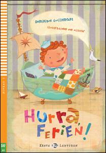 """Portada del libro en alemán """"Hurra, Ferien!"""" para el aprendizaje de este idioma"""